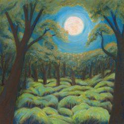 """Auwahi Moon - Oil Pastel 10"""" x10"""""""