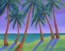"Purple Sky Palms - 11"" x 14"""
